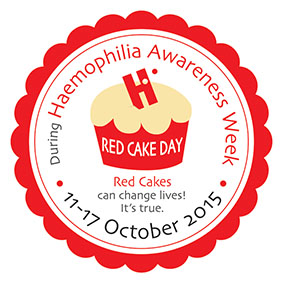 Red Cake Day - Haemophilia Week - raise awareness about haemophilia ,von Willebrand disorder and other bleeding disorders during the week of 11-17 October 2015.